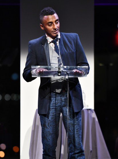 NEW YORK, NY - OCTOBER 17: Chef Marcus Samuelsson speaks at the God's Love We Deliver Golden Heart Awards on October 17, 2016 in New York City. (Photo by Dimitrios Kambouris/Getty Images for Michael Kors)