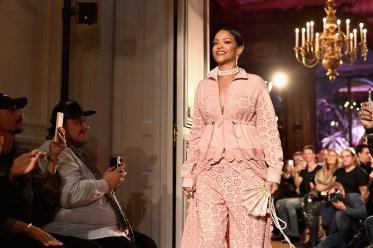 PARIS, FRANCE - SEPTEMBER 28: Rihanna walks the runway during FENTY x PUMA by Rihanna at Hotel Salomon de Rothschild on September 28, 2016 in Paris, France. (Photo by Jacopo Raule/Getty Images for Fenty x Puma)
