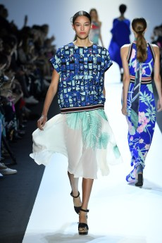 PARIS, FRANCE - OCTOBER 03: A model walks the runway during the Leonard show as part of Paris Fashion Week Womenswear Spring/Summer 2017 on October 3, 2016 in Paris, France. (Photo by Kristy Sparow/Getty Images for Leonard)
