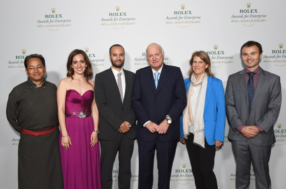attends the 2016 Rolex Awards for Enterprise at the Dolby Theatre on November 15, 2016 in Hollywood, California. from Left: Maitre Bertrand Gros, with Rolex 2016 Laureates Sonam Wangchuk, Kerstin Forsberg, Andrew Bastawrous, Vreni Haussermann, Conor Walsh