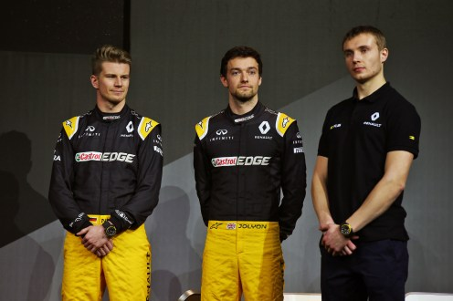 (L to R): Nico Hulkenberg (GER) Renault Sport F1 Team with Jolyon Palmer (GBR) Renault Sport F1 Team and Sergey Sirotkin (RUS) Renault Sport F1 Team Third Driver. Renault Sport Formula One Team RS17 Launch, Royal Horticultural Society Headquarters, London, England. Tuesday 21st February 2017.