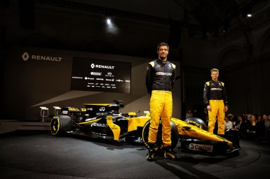 Jolyon Palmer (GBR) Renault Sport F1 Team and team mate Nico Hulkenberg (GER) Renault Sport F1 Team with the Renault Sport F1 Team RS17. Renault Sport Formula One Team RS17 Launch, Royal Horticultural Society Headquarters, London, England. Tuesday 21st February 2017.