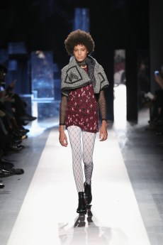DESIGUAL_NYFW_AW17_ATWALK_LOOK 23 NEW YORK, NY - FEBRUARY 09:A model walks the runway at the Desigual show New York Fashion Week The Shows at Gallery 1, Skylight Clarkson Sq on February 9, 2017 in New York City