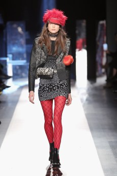 DESIGUAL_NYFW_AW17_ATWALK_LOOK 28 NEW YORK, NY - FEBRUARY 09:A model walks the runway at the Desigual show New York Fashion Week The Shows at Gallery 1, Skylight Clarkson Sq on February 9, 2017 in New York City
