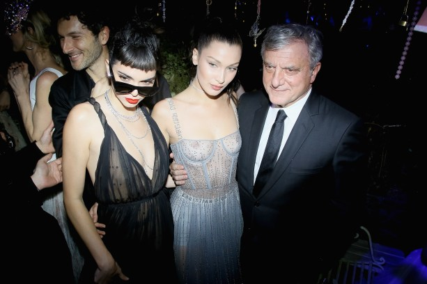 PARIS, FRANCE - JANUARY 23: (L to R) Kendall Jenner, Bella Hadi and Sidney Toledano attend the Christian Dior Haute Couture Spring Summer 2017 Bal Masque as part of Paris Fashion Week on January 23, 2017 in Paris, France. (Photo by Victor Boyko/Getty Images for Dior) *** Local Caption *** Kendall Jenner; Bella Hadid; Sidney Toledano