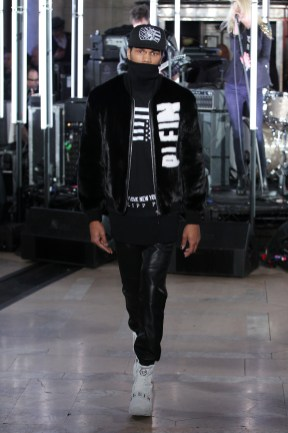 NEW YORK, NY - FEBRUARY 13: A model walks the runway wearing look #24 for the Philipp Plein Fall/Winter 2017/2018 Women's And Men's Fashion Show at The New York Public Library on February 13, 2017 in New York City. (Photo by Thomas Concordia/Getty Images for Philipp Plein)