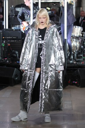 NEW YORK, NY - FEBRUARY 13: A model walks the runway wearing look #34 for the Philipp Plein Fall/Winter 2017/2018 Women's And Men's Fashion Show at The New York Public Library on February 13, 2017 in New York City. (Photo by Thomas Concordia/Getty Images for Philipp Plein)