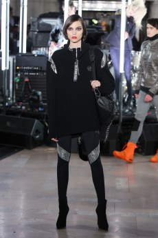 NEW YORK, NY - FEBRUARY 13: A model walks the runway wearing look #55 for the Philipp Plein Fall/Winter 2017/2018 Women's And Men's Fashion Show at The New York Public Library on February 13, 2017 in New York City. (Photo by Thomas Concordia/Getty Images for Philipp Plein)