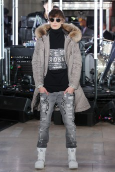 NEW YORK, NY - FEBRUARY 13: A model walks the runway wearing look #58 for the Philipp Plein Fall/Winter 2017/2018 Women's And Men's Fashion Show at The New York Public Library on February 13, 2017 in New York City. (Photo by Thomas Concordia/Getty Images for Philipp Plein)