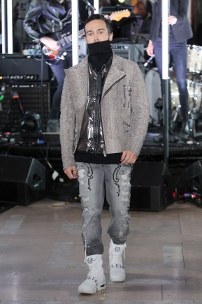 NEW YORK, NY - FEBRUARY 13: A model walks the runway wearing look #60 for the Philipp Plein Fall/Winter 2017/2018 Women's And Men's Fashion Show at The New York Public Library on February 13, 2017 in New York City. (Photo by Thomas Concordia/Getty Images for Philipp Plein)