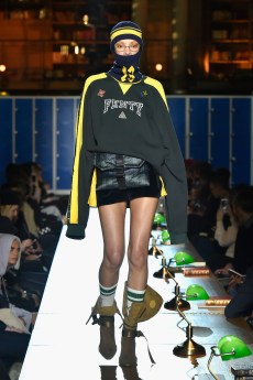PARIS, FRANCE - MARCH 06: (LOOK 19) A model walks the runway during FENTY PUMA by Rihanna Fall / Winter 2017 Collection at Bibliotheque Nationale de France on March 6, 2017 in Paris, France. (Photo by Kristy Sparow/Getty Images for Fenty Puma)