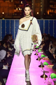 PARIS, FRANCE - MARCH 06: (LOOK 27) A model walks the runway during FENTY PUMA by Rihanna Fall / Winter 2017 Collection at Bibliotheque Nationale de France on March 6, 2017 in Paris, France. (Photo by Kristy Sparow/Getty Images for Fenty Puma)