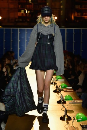 PARIS, FRANCE - MARCH 06: (LOOK 5) A model walks the runway during FENTY PUMA by Rihanna Fall / Winter 2017 Collection at Bibliotheque Nationale de France on March 6, 2017 in Paris, France. (Photo by Kristy Sparow/Getty Images for Fenty Puma)