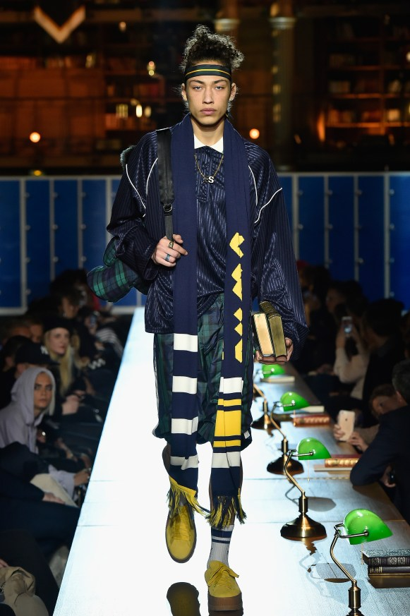 PARIS, FRANCE - MARCH 06: (LOOK 17) A model walks the runway during FENTY PUMA by Rihanna Fall / Winter 2017 Collection at Bibliotheque Nationale de France on March 6, 2017 in Paris, France. (Photo by Kristy Sparow/Getty Images for Fenty Puma)
