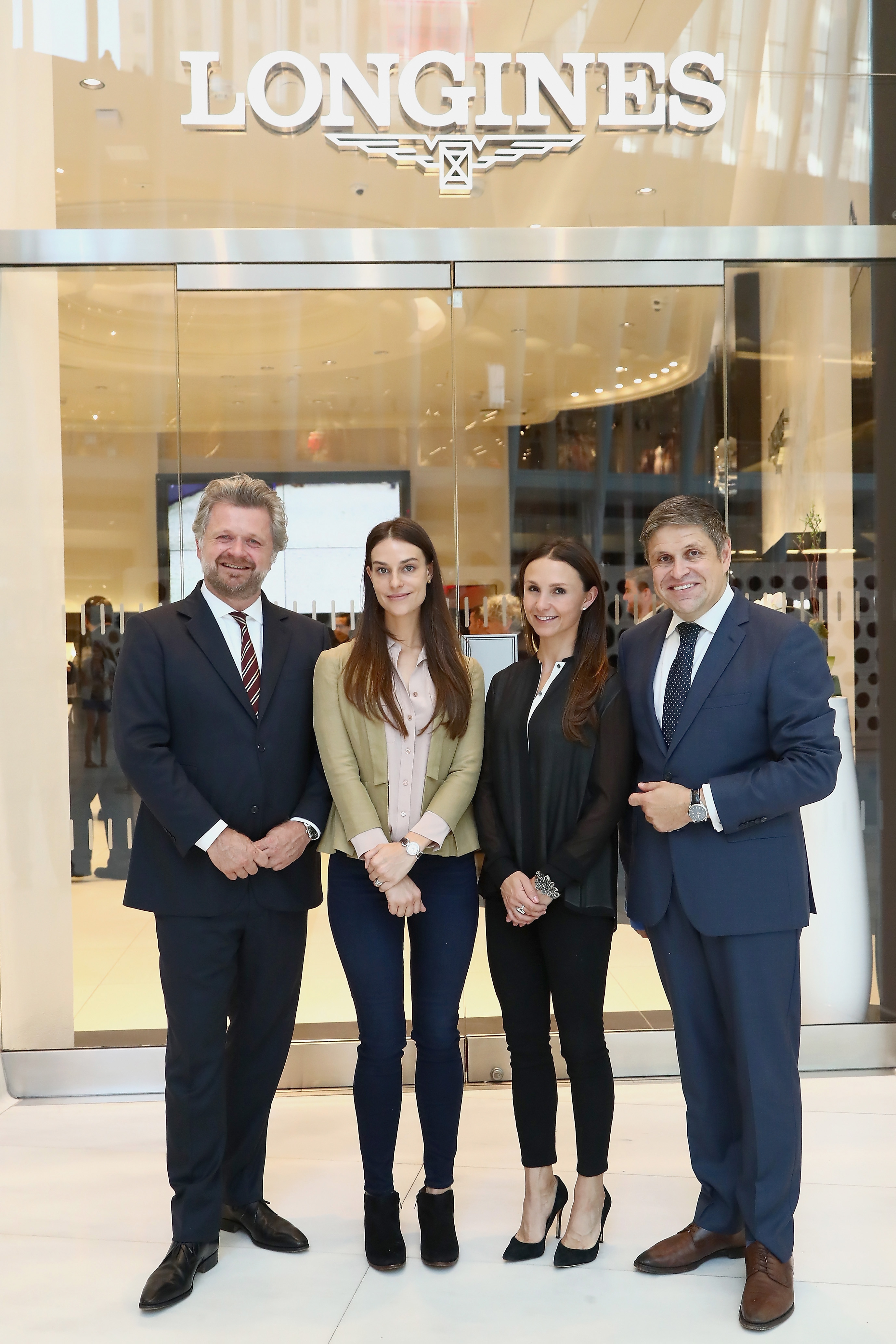 NEW YORK, NY - MAY 17: EEM Founder & CEO Christophe Ameeuw, Ariana Rockefeller, Georgina Bloomberg and Vice President of Longines Mr. Juan-Carlos Capelli attend the Longines Masters launch party celebrating Series' epic move to New York at Longines Boutique on May 17, 2017 in New York City. (Photo by Astrid Stawiarz/Getty Images for Longines)