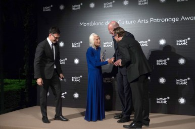 MADRID, SPAIN - MAY 04: Sam Bardaouil, Soledad Lorenzo, Jens Henning Koch and Till Fellrath attend Montblanc de la Culture Arts Patronage Award At The Madrid Palacio Liria - Photocall on May 4, 2017 in Madrid, Spain. (Photo by Carlos Alvarez/Getty Images for Montblanc)