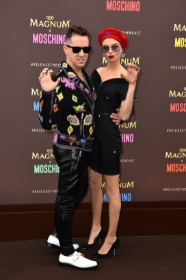 EDITORIAL USE ONLY Cara Delevingne and Jeremy Scott, Moschino Creative Director, arrive at a launch party to unveil the Magnum x Moschino bag capsule collection in celebration of Magnum Double ice cream in Cannes, France. PRESS ASSOCIATION Photo. Picture date: Thursday May 18, 2017. Photo credit should read: Matt Crossick/PA Wire
