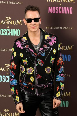 EDITORIAL USE ONLY Jeremy Scott, Moschino Creative Director, arrives at a launch party to unveil the Magnum x Moschino bag capsule collection in celebration of Magnum Double ice cream in Cannes, France. PRESS ASSOCIATION Photo. Picture date: Thursday May 18, 2017. Photo credit should read: David Parry/PA Wire