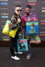 EDITORIAL USE ONLY Jeremy Scott, Moschino Creative Director, and Pablo Olea, Head of Communications Moschino, unveil the Magnum x Moschino bag capsule collection in celebration of Magnum Double ice cream in Cannes, France. PRESS ASSOCIATION Photo. Picture date: Thursday May 18, 2017. Photo credit should read: David Parry/PA Wire