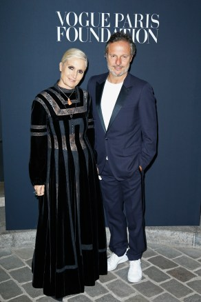 PARIS, FRANCE - JULY 04: Maria Chiuri and Olivier Bialobos attend the Vogue Foundation Dinner during Paris Fashion Week as part of Haute Couture Fall/Winter 2017-2018 at Musee Galliera on July 4, 2017 in Paris, France. (Photo by Julien Hekimian/Getty Images for Vogue) *** Local Caption *** Maria Chiuri;Olivier Bialobos