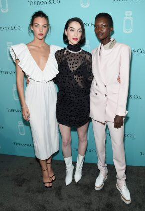 NEW YORK, NY - SEPTEMBER 06: (L-R) Vittoria Ceretti, St. Vincent, and Achok Majak attend the Tiffany & Co. Fragrance launch event on September 6, 2017 in New York City. (Photo by Jamie McCarthy/Getty Images for Tiffany & Co.)
