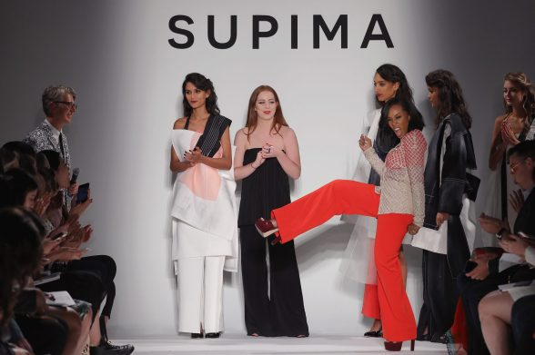 NEW YORK, NY - SEPTEMBER 07: (L-R) Winner Alyssa Wardrop, FIT, June Ambrose, and Buxton Midyette attend Supima Design Competition SS18 runway show during New York Fashion Week at Pier 59 on September 7, 2017 in New York City. (Photo by JP Yim/Getty Images for Supima Design Competition)