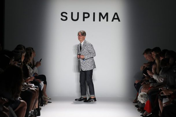 NEW YORK, NY - SEPTEMBER 07: Buxton Midyette poses on runway at Supima Design Competition SS18 during New York Fashion Week at Pier 59 on September 7, 2017 in New York City. (Photo by JP Yim/Getty Images for Supima Design Competition)