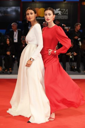 VENICE, ITALY - SEPTEMBER 04: (L-R) Julia Haghjoo and Sylvia Haghjoo walk the red carpet ahead of the 'Three Billboards Outside Ebbing, Missouri' screening during the 74th Venice Film Festival at Sala Grande on September 4, 2017 in Venice, Italy. (Photo by Venturelli/WireImage)