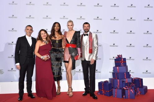 MILAN, ITALY - SEPTEMBER 20: Alessandro Vergano, Nathalie Colin, Jourdan Dunn, Karlie Kloss and Robert Buchbauer attend Swarovski Crystal Wonderland Party on September 20, 2017 in Milan, Italy. (Photo by Jacopo Raule/Getty Images for Swarovski) *** Local Caption *** Nathalie Colin; Jourdan Dunn; Karlie Kloss; Robert Buchbauer; Alessandro Vergano