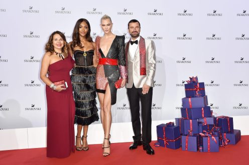 MILAN, ITALY - SEPTEMBER 20: Nathalie Colin, Jourdan Dunn, Karlie Kloss and Robert Buchbauer attend Swarovski Crystal Wonderland Party on September 20, 2017 in Milan, Italy. (Photo by Jacopo Raule/Getty Images for Swarovski) *** Local Caption *** Jourdan Dunn; Karlie Kloss; Robert Buchbauer; Nathalie Colin