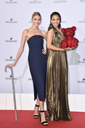 MILAN, ITALY - SEPTEMBER 20: Martha Hunt and Shanina Shaik attend Swarovski Crystal Wonderland Party on September 20, 2017 in Milan, Italy. (Photo by Jacopo Raule/Getty Images for Swarovski) *** Local Caption *** Shanina Shaik; Martha Hunt