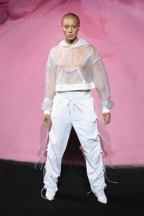 NEW YORK, NY - SEPTEMBER 10: Adwoa Aboah walks the runway wearing Look 30 at the FENTY PUMA by Rihanna Spring/Summer 2018 Collection at Park Avenue Armory on September 10, 2017 in New York City. (Photo by JP Yim/Getty Images for FENTY PUMA By Rihanna)