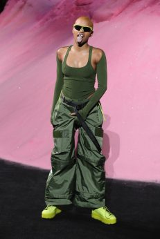 NEW YORK, NY - SEPTEMBER 10: Slick Woods walks the runway wearing Look 44 at the FENTY PUMA by Rihanna Spring/Summer 2018 Collection at Park Avenue Armory on September 10, 2017 in New York City. (Photo by JP Yim/Getty Images for FENTY PUMA By Rihanna)