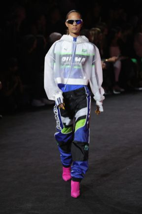 NEW YORK, NY - SEPTEMBER 10: Selena Forrest walks the runway wearing Look 55 at the FENTY PUMA by Rihanna Spring/Summer 2018 Collection at Park Avenue Armory on September 10, 2017 in New York City. (Photo by JP Yim/Getty Images for FENTY PUMA By Rihanna)
