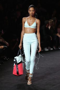 NEW YORK, NY - SEPTEMBER 10: A model walks the runway wearing Look 29 at the FENTY PUMA by Rihanna Spring/Summer 2018 Collection at Park Avenue Armory on September 10, 2017 in New York City. (Photo by JP Yim/Getty Images for FENTY PUMA By Rihanna)