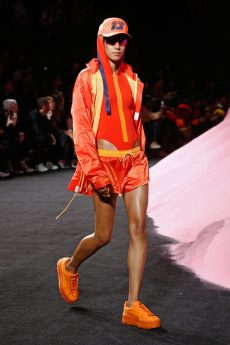 NEW YORK, NY - SEPTEMBER 10: Dilone the runway wearing Look 26 at the FENTY PUMA by Rihanna Spring/Summer 2018 Collection at Park Avenue Armory on September 10, 2017 in New York City. (Photo by Brian Ach/Getty Images for FENTY PUMA By Rihanna)