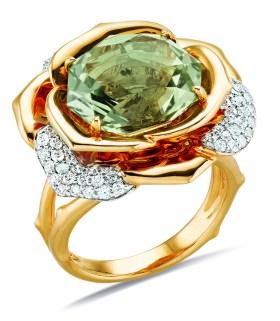 Gringoire Joaillier - ROSE - Bague Quartz Vert et diamants - BC2318QV-BTS