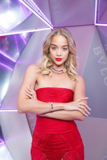 Jasmine SANDERS.. Bulgari 5th avenue Opening. Met Cloisters. NYC. U.S.A. 10/2017 © david atlan