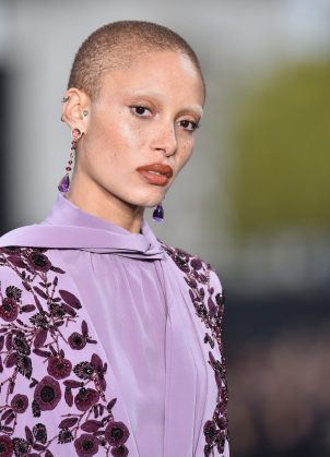 PARIS, FRANCE - OCTOBER 01: Adwoa Aboah walks the runway during Le Defile L'Oreal Paris as part of Paris Fashion Week Womenswear Spring/Summer 2018 at Avenue Des Champs Elysees on October 1, 2017 in Paris, France. (Photo by Kristy Sparow/Getty Images for L'Oreal)