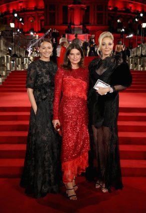 LONDON, ENGLAND - DECEMBER 04: (L-R) Caroline Rush, Natalie Massenet and Nadja Swarovski attend The Fashion Awards 2017 in partnership with Swarovski at Royal Albert Hall on December 4, 2017 in London, England. (Photo by Mike Marsland/BFC/Getty Images)
