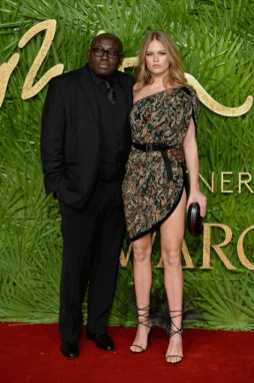 LONDON, ENGLAND - DECEMBER 04: Edward Enninful (L) and Anna Ewers (R) attend The Fashion Awards 2017 in partnership with Swarovski at Royal Albert Hall on December 4, 2017 in London, England. (Photo by Jeff Spicer/BFC/Getty Images)