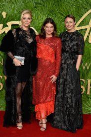 LONDON, ENGLAND - DECEMBER 04: (L-R) Nadja Swarovski, Natalie Massenet and Caroline Rush attend The Fashion Awards 2017 in partnership with Swarovski at Royal Albert Hall on December 4, 2017 in London, England. (Photo by Jeff Spicer/BFC/Getty Images)