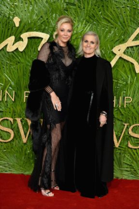 LONDON, ENGLAND - DECEMBER 04: Nadja Swarovski (L) and Maria Grazia Chiuri (R) attend The Fashion Awards 2017 in partnership with Swarovski at Royal Albert Hall on December 4, 2017 in London, England. (Photo by Jeff Spicer/BFC/Getty Images)