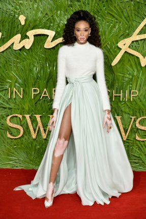LONDON, ENGLAND - DECEMBER 04: Winnie Harlow attends The Fashion Awards 2017 in partnership with Swarovski at Royal Albert Hall on December 4, 2017 in London, England. (Photo by Jeff Spicer/BFC/Getty Images)