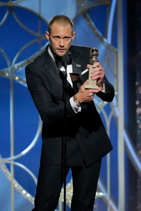 "BEVERLY HILLS, CA - JANUARY 07: In this handout photo provided by NBCUniversal, Alexander Skarsgard accepts the award for Best Performance by an Actor in a Supporting Role in a Series, Limited Series or Motion Picture Made for Television for ""Big Little Lies"" during the 75th Annual Golden Globe Awards at The Beverly Hilton Hotel on January 7, 2018 in Beverly Hills, California. (Photo by Paul Drinkwater/NBCUniversal via Getty Images)"