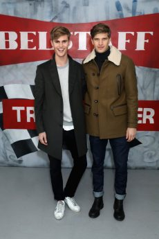 LONDON, ENGLAND - JANUARY 08: Toby Huntington-Whiteley (R) and Sam Harwood attend the Belstaff AW18 Mens & Womens Presentation during London Fashion Week Men's January 2018 on January 8, 2018 in London, England. (Photo by Darren Gerrish/WireImage) *** Local Caption *** Toby Huntington-Whiteley; Sam Harwood