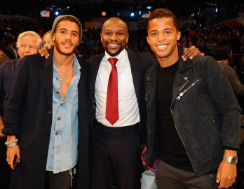 LOS ANGELES, CA - FEBRUARY 18: Floyd Mayweather, Jonathan dos Santos and Giovani dos Santos pose for a photo during the NBA All-Star Game as a part of 2018 NBA All-Star Weekend at STAPLES Center on February 18, 2018 in Los Angeles, California. NOTE TO USER: User expressly acknowledges and agrees that, by downloading and/or using this photograph, user is consenting to the terms and conditions of the Getty Images License Agreement. Mandatory Copyright Notice: Copyright 2018 NBAE (Photo by Juan Ocampo/NBAE via Getty Images)