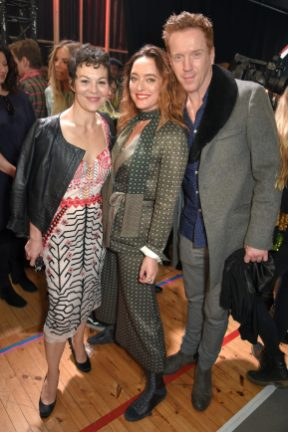 LONDON, ENGLAND - FEBRUARY 18: Helen McCrory, Alice Temperley and Damian Lewis attend Temperley London Fashion Show Fall/Winter 18 during London Fashion Week at Seymour Leisure Centre on February 18, 2018 in London, England. (Photo by David M. Benett for Temperley London )