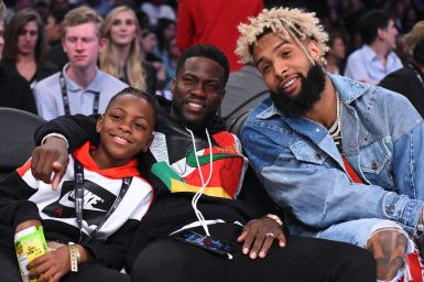 LOS ANGELES, CA - FEBRUARY 18: Kevin Hart and O'dell Beckham Jr. attend the NBA All-Star Game as a part of 2018 NBA All-Star Weekend at STAPLES Center on February 18, 2018 in Los Angeles, California. NOTE TO USER: User expressly acknowledges and agrees that, by downloading and/or using this photograph, user is consenting to the terms and conditions of the Getty Images License Agreement. Mandatory Copyright Notice: Copyright 2018 NBAE (Photo by Juan Ocampo/NBAE via Getty Images)