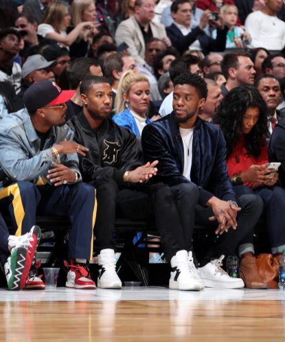 LOS ANGELES, CA - FEBRUARY 18: Michael B. Jordan and Chadwick Boseman views the game from court side during the NBA All-Star Game as a part of 2018 NBA All-Star Weekend at STAPLES Center on February 18, 2018 in Los Angeles, California. NOTE TO USER: User expressly acknowledges and agrees that, by downloading and/or using this photograph, user is consenting to the terms and conditions of the Getty Images License Agreement. Mandatory Copyright Notice: Copyright 2018 NBAE (Photo by Nathaniel S. Butler/NBAE via Getty Images)